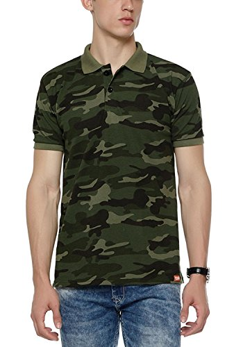 WYO Men's Cotton Camouflage Army Print Polo Collar T-Shirt