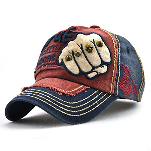 SLBGADIEME Sports Hat Breathable Outdoor Run Caps Comfortable Baseball caps (Shadow Structured)(Fist Blue Red)