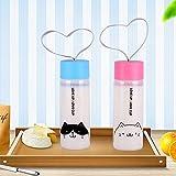 Botella deportiva Upstyle, portátil, ecológica, de color transparente, hecha de plástico, de boca ancha, con tapa de color caramelo, para niños, té, café, leche o jugo, de 300ml, PC103 2 cats