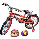 """Bicicleta de lujo para niños y niñas, color rosa y naranja, tamaños 12"""", 16"""", 20"""" (30,5 cm, 40,6 cm, 50,8 cm) efecto led ajustable., color naranja, tamaño 20"""" (50,8 cm)"""