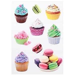 Promobo -Planche Lot 9 Stickers Muraux Autocollant Deco Gourmand Macarons & Cupcakes