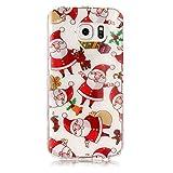 Samsung Galaxy S6 Edge Hülle, Chreey [Weihnachten Thema] Transparent Weihnachtsmann Muster Crystal Klar Weiche TPU Schutzhülle Durchsichtig Ultra Dünn Handyhülle Kratzfest Bumper Case