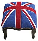 Casa Padrino Barock Fußhocker Union Jack / Schwarz – Hocker Englische Flagge- Antik Stil England - 2
