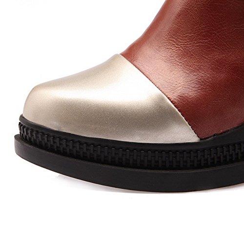VogueZone009 Femme Pu Cuir à Talon Haut Rond Couleurs Mélangées Boucle Chaussures Légeres Jaune