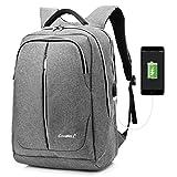 CoolBell Schulrucksack Reisen Rucksack mit USB Port Multifunktional Business Backpack Wasserdicht Knapsack Daypack Passend 15,6 Zoll Laptop für Studenten/Herren/Damen (Grau)