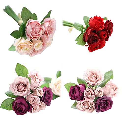 LSAltd 7 Heads Artificial Silk Fake Flowers Leaf Rose Wedding Floral Decor Bouquet Gefälschte Blumen - Flower Silk Bouquet Lila