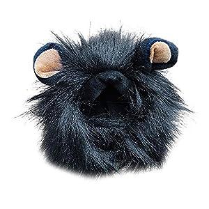 Ogquaton Animal de Compagnie Chat Chien émulation Lion Cheveux crinière Oreilles tête Cap Automne Hiver Habiller coiffures Noir-m Haute qualité