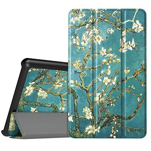 TiMOVO Hülle Kompatibel für Lenovo Tab E7, Ultra Lightweight Slim PU Leder Tasche Schutzhülle Schale Smart Case mit magnetischer Abdeckung für Lenovo Tab E7 7 Inch 2019 - Aprikose Blume