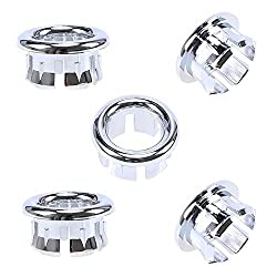 Goodchanceuk 5-pack Bathroom Sink Overflow Ring Replacement Round Vanity Basin Drain Covers Kitchen