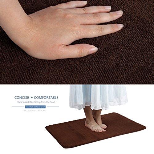 GraceU Anti Rutsch Teppich Saugfähiger Teppich Baumwolle Haftteppich für Badezimmer Wohnzimmer Gastzimmer, Keine Einbeulung, Modern Memory Rebound Carpet 60 * 90 cm Kaffee