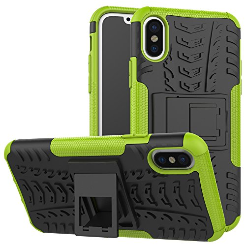 DBIT iPhone X Custodia, Alta qualità Durevole TPU/PC Custodia protettivo Armatura Case con cavalletto per iPhone X,Blu Verde