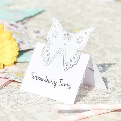 Butterfly-tisch-stuhl-set (Set von 10–Schmetterling Perle ivorytable Namen Karten Karte Inhaber–geschirrservices Marker, perfekt für Hochzeit Tisch Dekoration, Abendessen–12x 8cm)