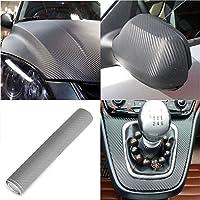 2 PCS PELLICOLA CARBONIO 3D ADESIVA ADESIVO 120X30 CM 3D Adesivo Car Wrapping per auto autoadesiva, per BMW, VW, Benz, Audi
