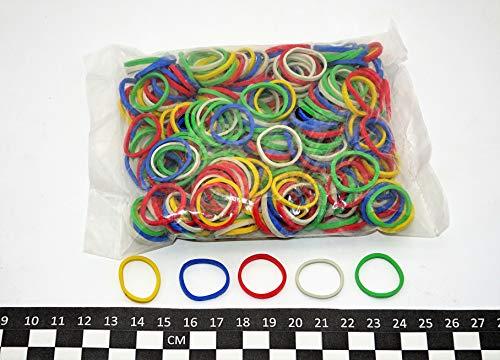 Progom - Elastici in gomma, 25 (diametro interno 16) mm x 1,7 mm, colori assortiti (rosso, verde, blu, bianco, giallo), sacchetto da 50 g.