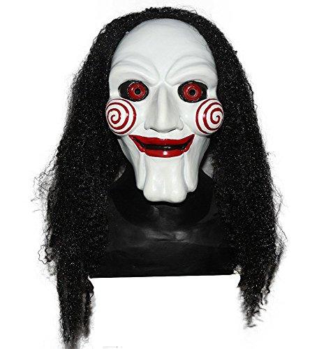 shoperama Hochwertige Latex-Maske SAW mit Haaren Latexmaske Jigsaw Horror Halloween