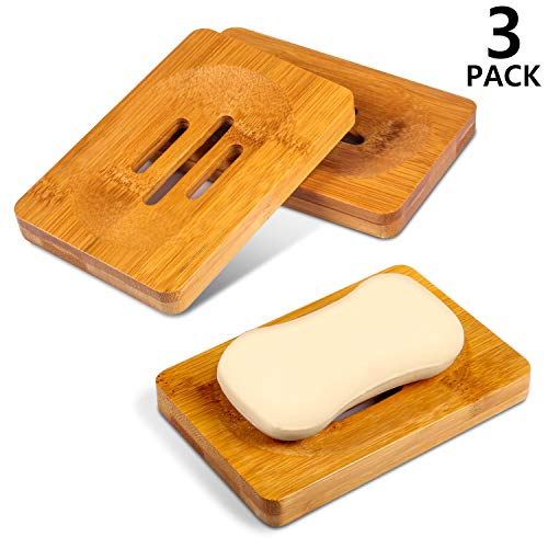 PAMIYO Seifenschale Holz Dusche, Natürliche Bambus Seifenkiste,Seifenhalter Handarbeit Seifenschale für Küche,Bad Waschbecken Seifenkiste Seifen Box -3 Stück (Küche Seifenschale)