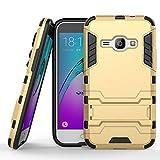 COOVY Funda para Samsung Galaxy J1 SM-J120 / SM-J120F / SM-J120F/DS (Model 2016) de plástico y Silicona TPU, extrafuerte, con protección contra Golpes, Funda con función Atril | Color Oro