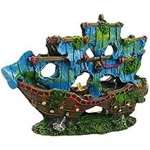 OHlive - Adorno de Barco Pirata para Acuario con diseño de Barco Roto para esconder Peces