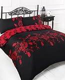 SUPER KING SIZE DUVET COVER BED SET - BLACK & RED EASY CARE BEDDING