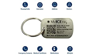 MyICETag Stainless Steel Engravable Smart Medical Alert ID Dog Tag Pendant Necklace - Fits Men, Women & Kids