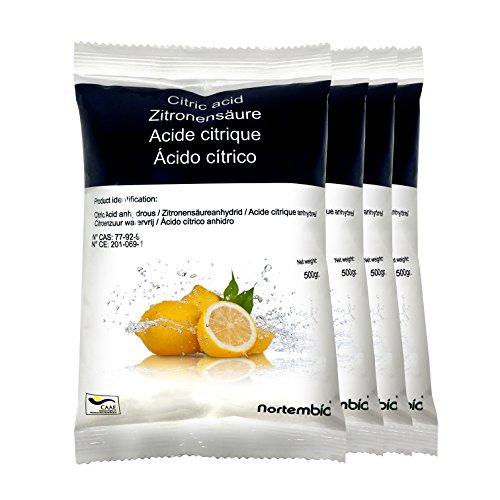Zitronensäure 2 kg (4x500g), reine Premiumqualität, Wasserfrei Pulver, NortemBio für ökologischen Produktion.