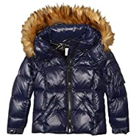 S13 Girls' Toddler Faux Fur Mogul Down Puffer, MARINE, 6