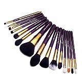 Jessup T095 - Lot de 15 pinceaux à maquillage professionnels pour poudre, fond de teint, fard à paupières, eyeliner, estompage, lèvres (violet/or)