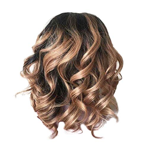 Sisit Frauen braunes brasilianisches kurzes gewelltes gelocktes Abschneiden Hochtemperaturfaser Perücke Haar, für Partei, Kostüm, Cosplay 40cm Länge