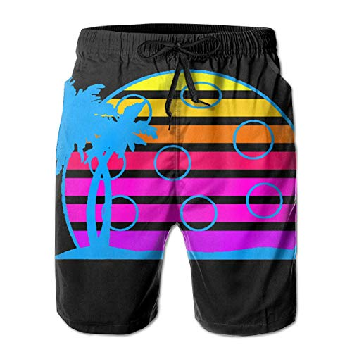 Pickleball Retro Wave Sunrise Vintage 80er Jahre Herren Boardshorts Badehose Beachwear Casual Classic Fit Badeshorts XL