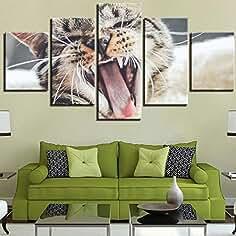 Cuadro en lienzo Arte de la pared Gato en la boca Imagen 5 piezas Pinturas Cuadros