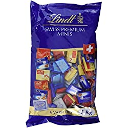 Lindt Napolitains Mini Schokoladentafeln, Milch Extra, Milch-Nuss, Lindor Milch, Cresta Milch, Cresta Weiss, Crémant, 159 Stück, 1er Pack (1 x 1 kg)