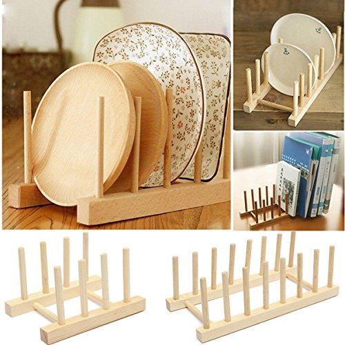 Bureze Schale, Teller-Halter Aufbewahrung zusammenklappbar Weinregal aus Holz mit Schublade
