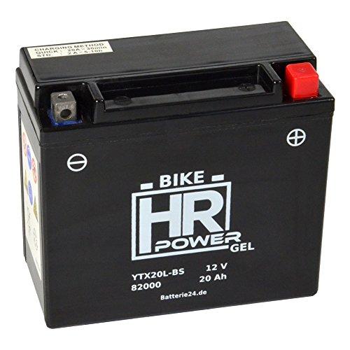 GEL Motorrad Batterie Starterbatterie 12V 20Ah YTX20L-BS 82000 wartungsfrei
