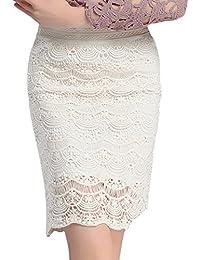 Azbro Mujer Falda Lápiz de Encaje Cintura Alta de Color Sólido