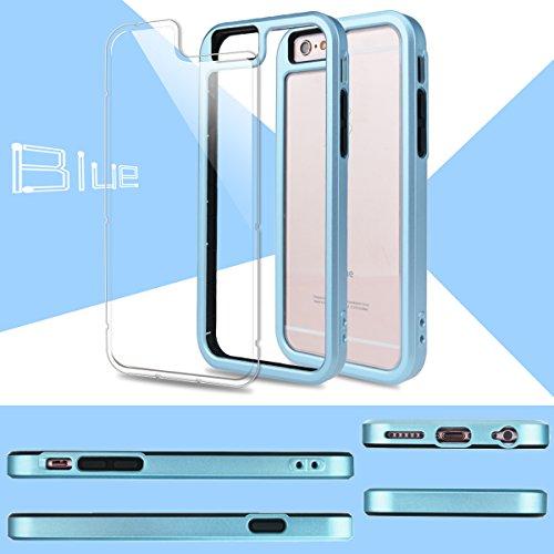 iPhone 6S Hülle, iPhone 6 Hülle, GrandEver Dual Layer Hybrid Rahmen mit Weiche TPU Silikon Bumper + Hart PC Zurück Kombination Transparent Schutzhülle Case Cover Scratch-Resistant Tasche für Apple iPh Navy Blue
