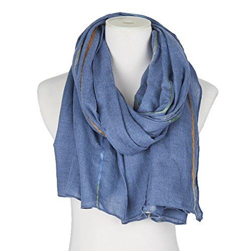 Saint Valentin Foulard Femme Hiver Tie-dye Imitation Cachemire 10 Couleurs Bleu