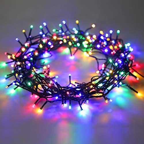 DecoKing 200er LED Lichterkette Timer bunt mehrfarbig statisch strombetrieben Innen und Außen Gartendeko