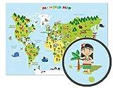 ARTBAY Kinder Weltkarte - XXL Poster - 118,8 x 84 cm - Weltkarte für Kinder mit fröhlichen Figuren und Tieren - Spielerisches Kennenlernen der Verschiedenen Kontinente, Kulturen und Tiere der Welt