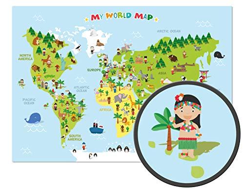 El mapamundi para niños - XXL Póster - 118,8 x 84 cm - Mapa del mundo para niños con personajes alegres y animales - Aprender los continentes diferentes, las culturas y los animales en el mundo