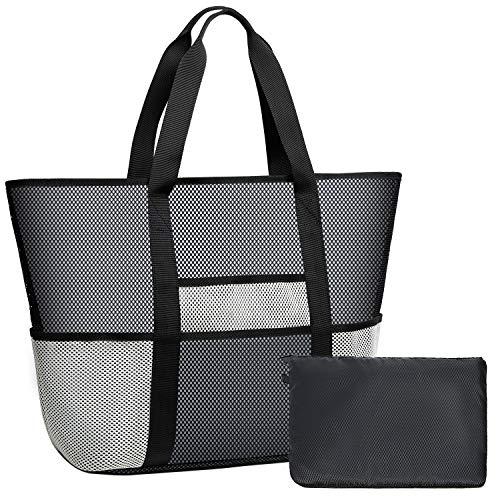 Coolty Große Netztasche für den Strand, Faltbar Strandtasche,Shopping Umhängetasche für Familie Urlaub Picknick Schwimmen Outdoor-Aktivitäten (Schwarz/Beige)