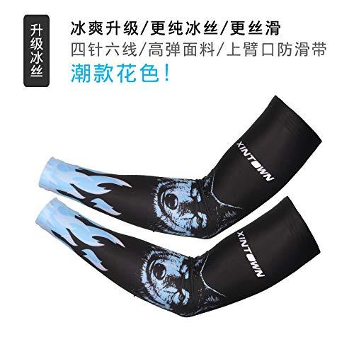 JinRui-Sport Tattoo Sleeve Sommer EIS Seide Sonnencreme Manschette, XL, Hund blau 2 Packungen (Tattoo Hund Hund Kostüme)