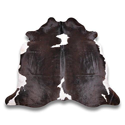 Goodsmania Premium Kuhfell-Teppich - L210 x B200 cm - Schwarz Braun Weiß - einmaliges Naturprodukt aus Südamerika