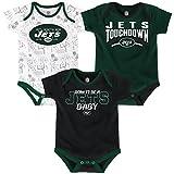 New York Jets NFL 'Playmaker' Newborn 3 Pack Bodysuit Creeper Set