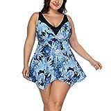 FeelinGirl Damen Badeanzug Bademode Bauchweg Print Flower Beach Bikini Set Tankini Oberteile Top Plus Size (Blau, XL (EU 54-56))