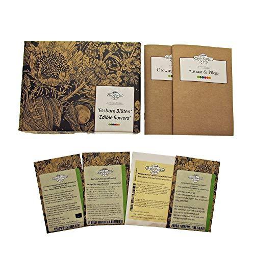 'Fleurs comestibles' kit cadeau de graines avec 4 variétés aromatiques pour salades, finger food & des poudings