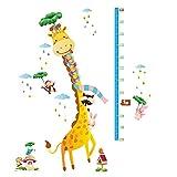 Winhappyhome Giraffa animali bambini altezza crescita misurazione Wall Art adesivi per cameretta bambini salotto sfondo rimovibile Decor decalcomanie