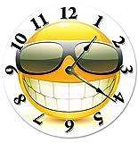 HSSS Vintage Cool Smiley Emoji mit Sonnenbrille Uhr Dekorative Runde Holz Wanduhr – 30,5 cm