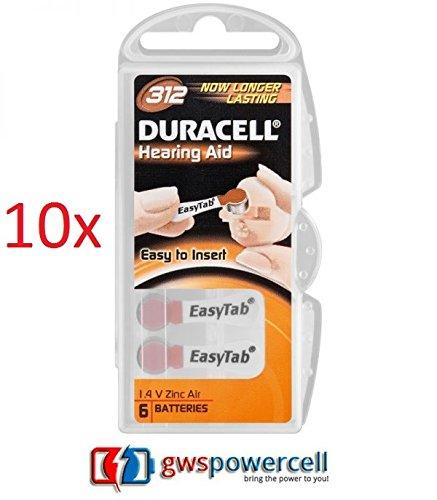 DURACELL pile ACTIVAIR HEARING AID dispositivi ascoltalo - EASY TO insert * EASY TAB* Zinco AIR BATTERIES/tipo - 10 PR70 - 13 PR48 - 312 PR41 - 675 PR44 - 6 PACK 10x TYP 312 6er Pack