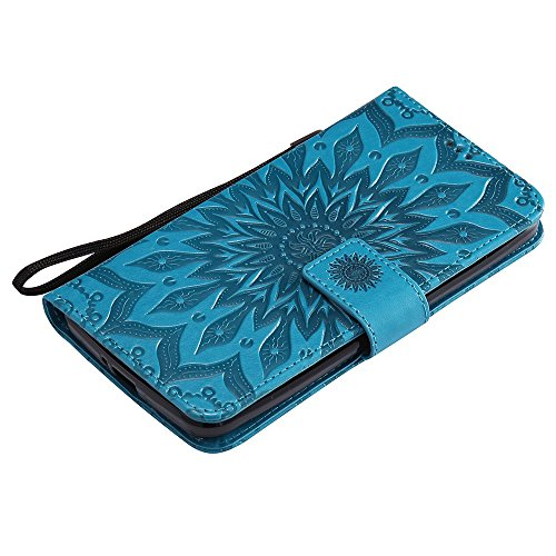 Für Wiko Pulp Case, Embossing Sonnenblume Magnetic Pattern Premium Soft PU Leder Brieftasche Stand Case Cover mit Lanyard & Halter & Card Slots ( Color : Red ) Blue