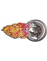 Buckle Gürtelschnalle Totenkopf mit Flammen USA lizenziert